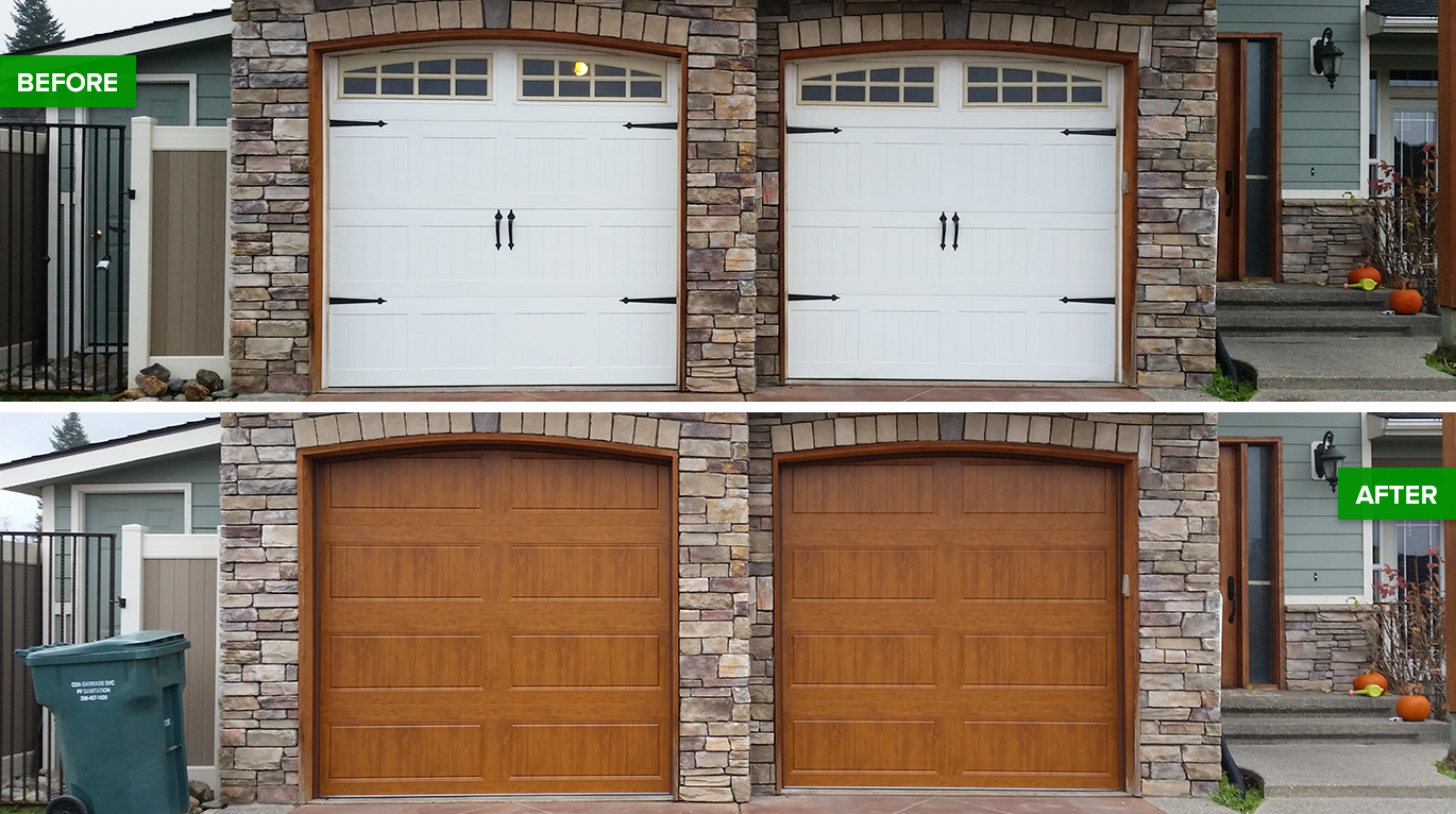 Before and after garage door transformations for Garage transformation